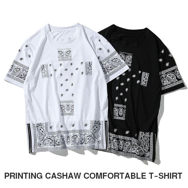メンズTシャツ半袖オーバーサイズサイドZIP / MEN'S PRINTING CASHAW COMFORTABLE T-SHIRT (SKU : 18MT028)