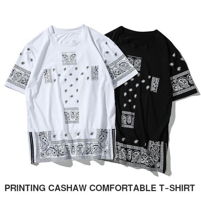 メンズTシャツ半袖オーバーサイズサイドZIP / MEN'S PRINTING CASHAW COMFORTABLE T-SHIRT (SKU : 18MT028)