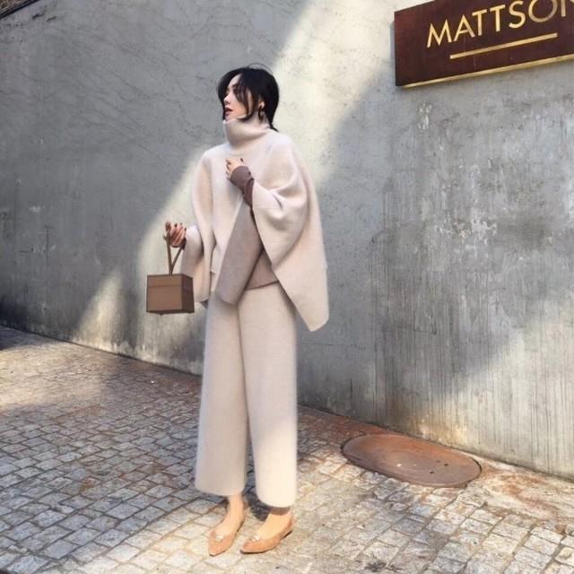 予約注文商品 MMケープセットアップ ケープ セットアップ ニットセットアップ 韓国ファッション
