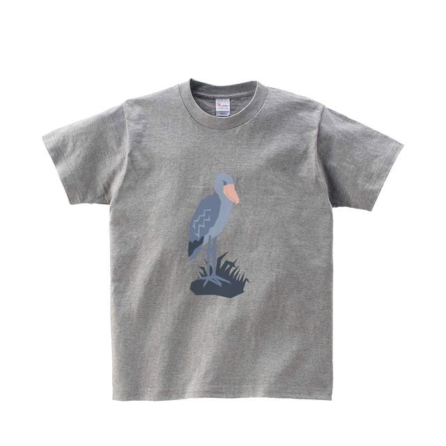 動物Tシャツ-ハシビロコウ(杢グレー)