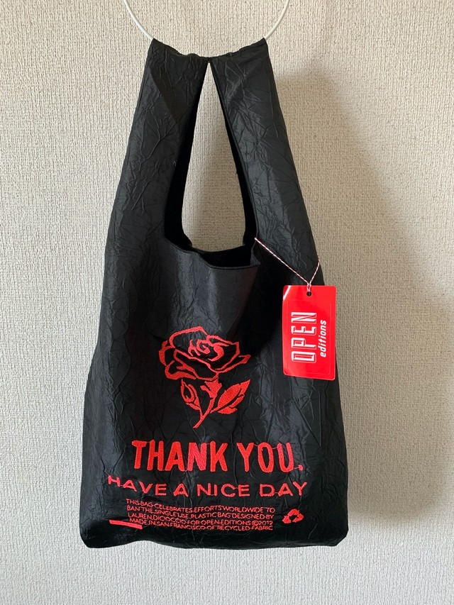 【OPEN EDITIONS】THANK YOU TOTE エコバッグ/ ROSE Black