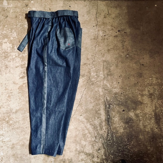 Denim × 紬(つむぎ)Wide Tapered Pants