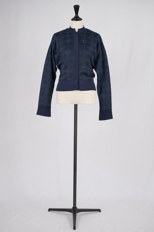 【Mame Kurogouchi】Paisley Jacquard Knitted Cardigan - navy