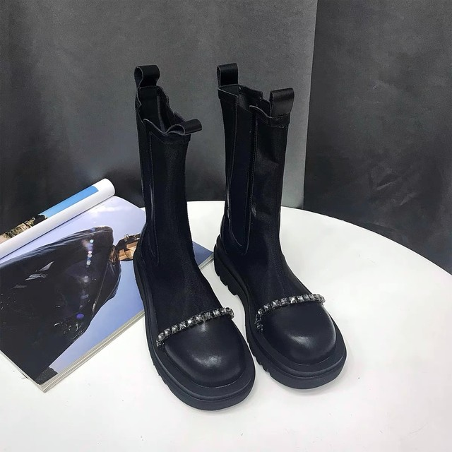 see-through studs line short boots