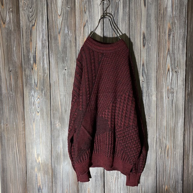 [used]wine red asymmetry design knit