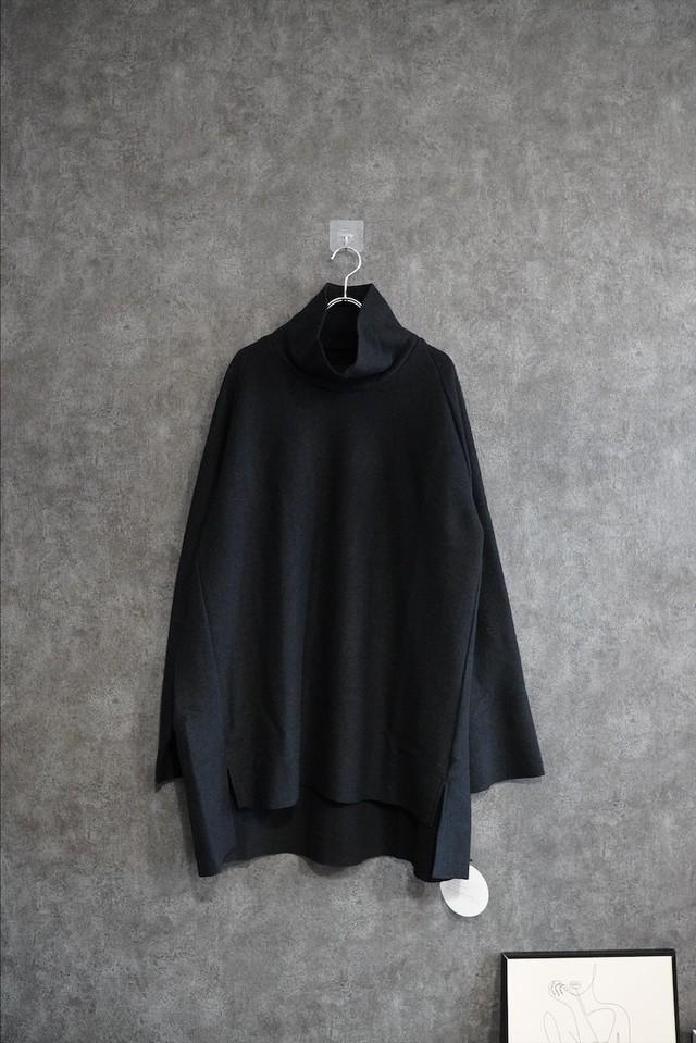 VOAAOV compressed wool jersey high-necked  Black