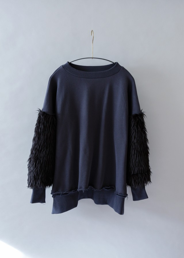 《michirico 2019AW》Fur sweat / charcoal / F(womens)