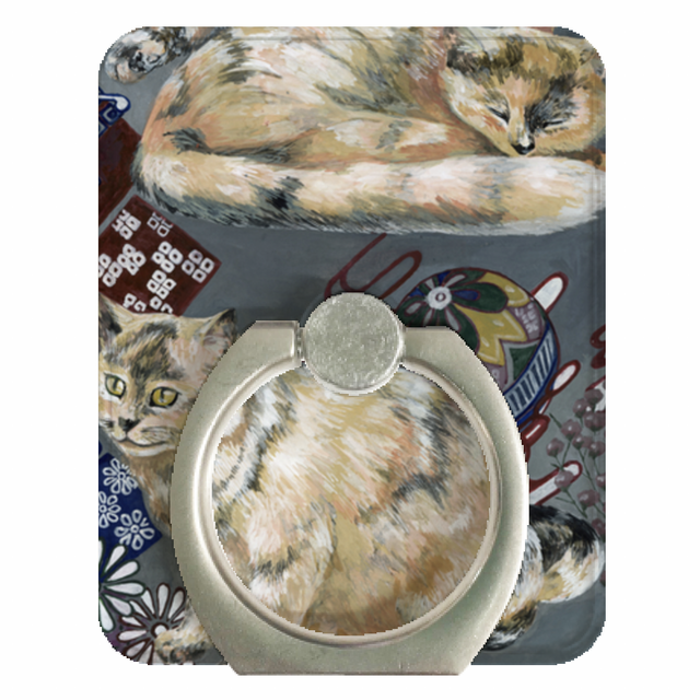 『日本画×眠りネコ×手毬ネコ』 スマホリング