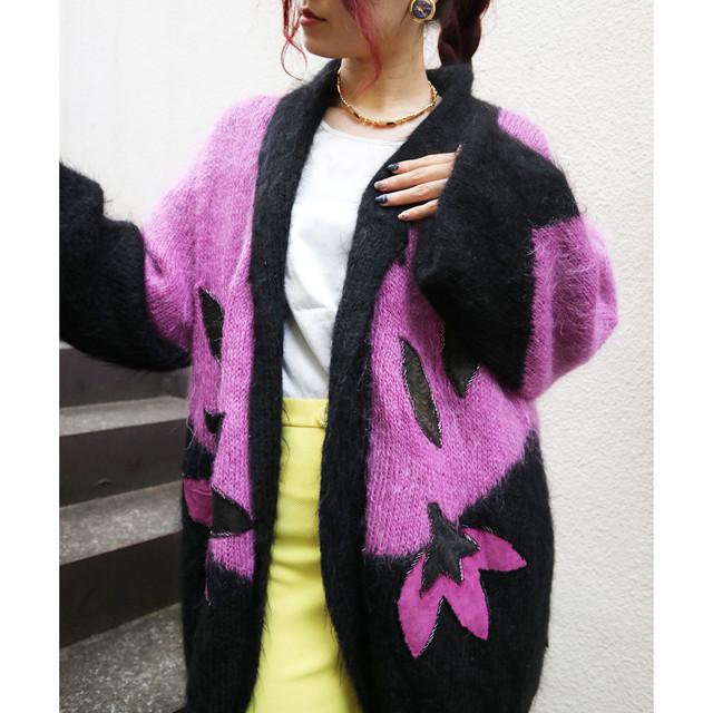 Lady & flower knit cardigan