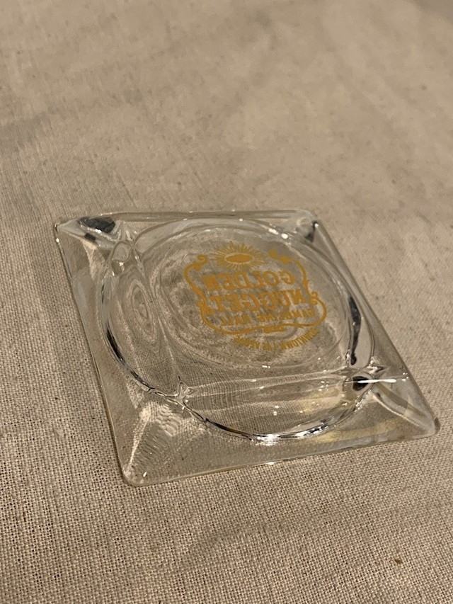 "GLASS ASHTRAY "" GOLDEN NUGGET """