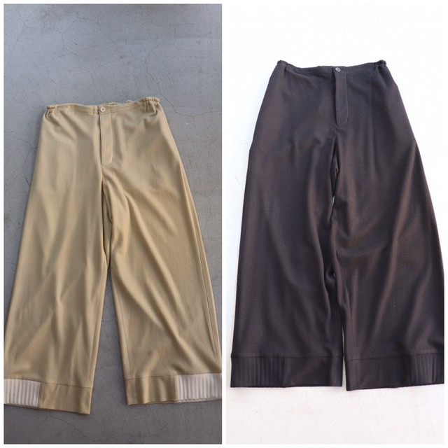 ippei takei【イッペイタケイ】 rib wide パンツ yellow beige/dark navy