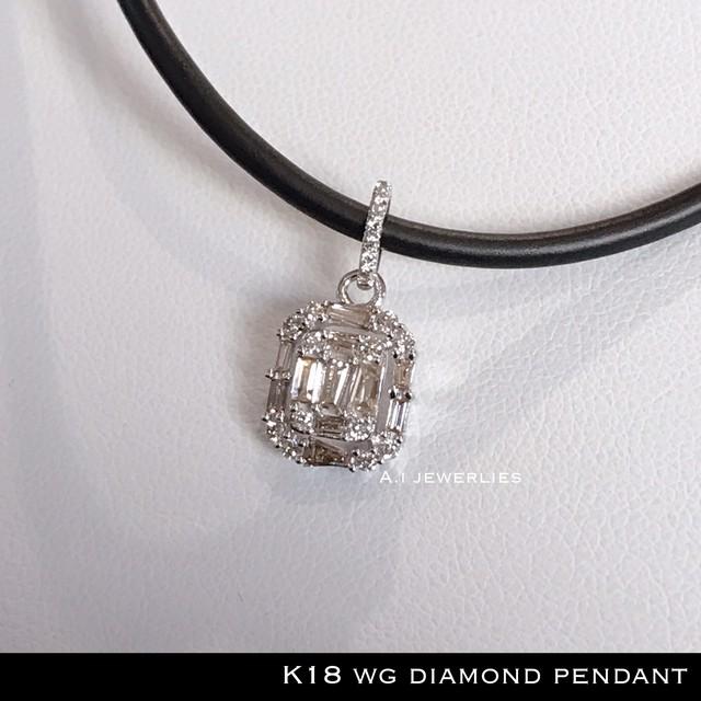 ペンダント 18金 ホワイト 天然 ダイヤ k18WG 天然 ダイヤモンド ペンダント / k18wg diamonds pendant