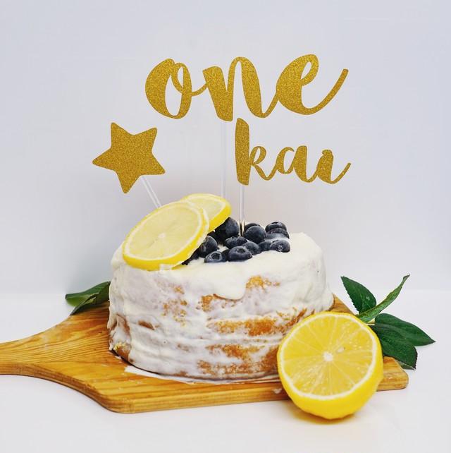 バースデーケーキトッパー(L・グリッターゴールド・名前付き)誕生日 飾り付け