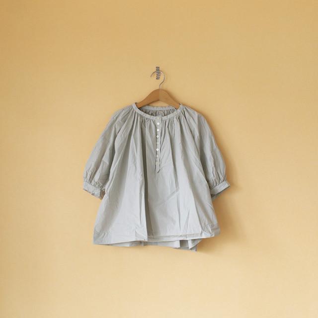 Gauze# ガーゼ G467 peff sleeve church smock blouse パフスリーブチャーチスモックブラウス・ミストグレイ