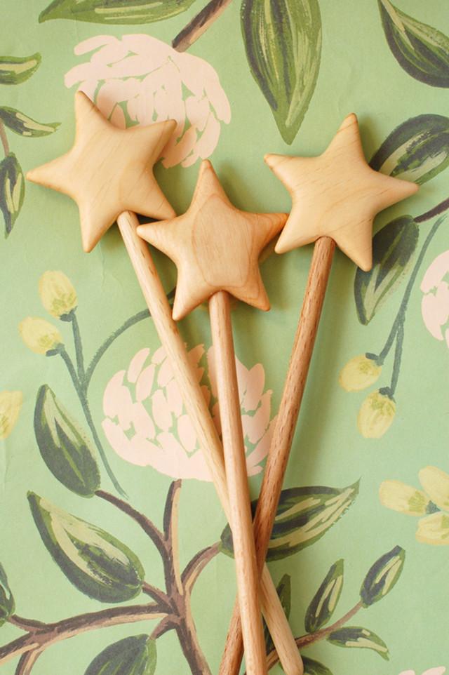 おしゃれな 星の 魔法の杖 木製☆~ チェリー ブナ Magic wand