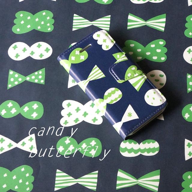 candy butterfly ( deep blue × green ) 手帳型スマホケース【受注生産】 ★ Lサイズは+400円