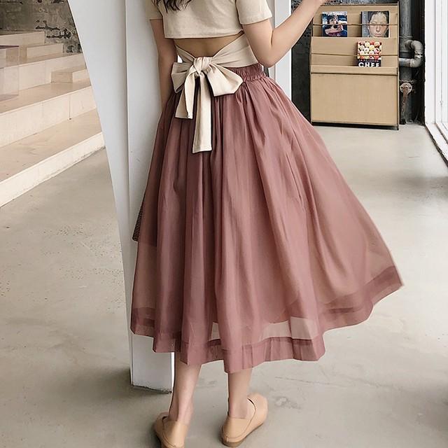 全2色シフォンくすみカラースカート