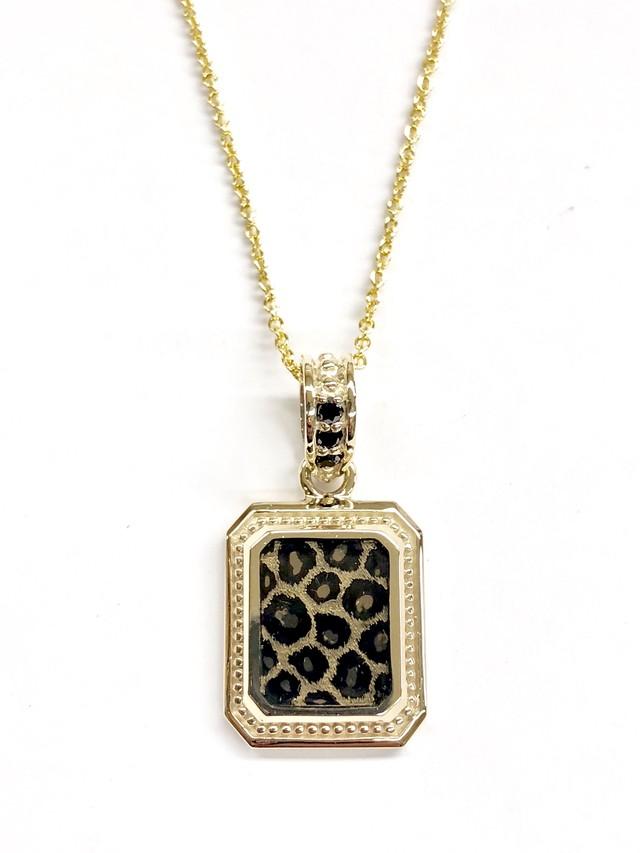 nt50pn-bkd-pan K10ゴールドブラックダイヤモンドヒョウ柄テクスチャーネックレス