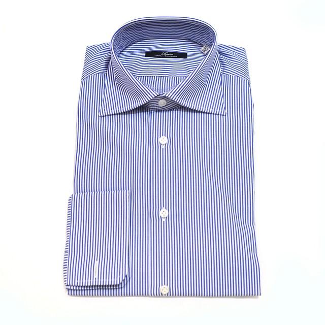 【30%OFF】ARGENIO 長袖ドレスシャツ 100%コットン - Navy Stripe