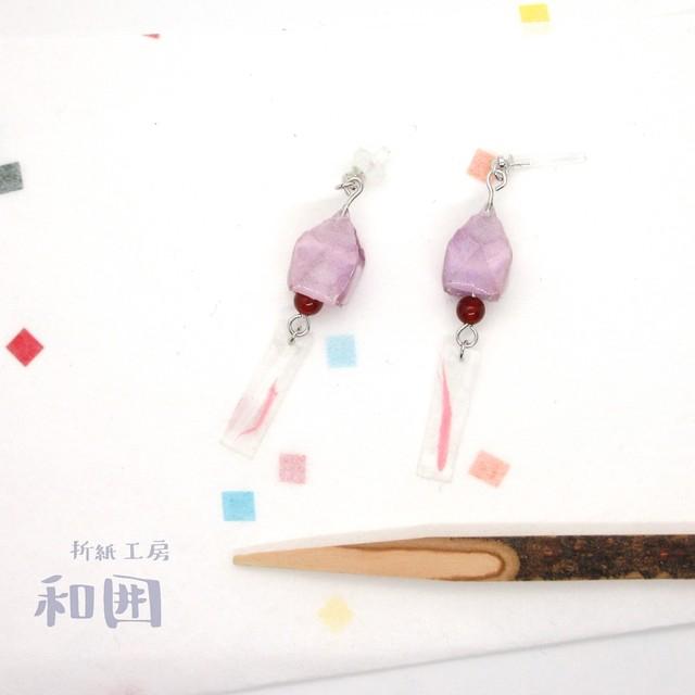 浴衣が着たくなるイヤアクセ【005】和紙折紙の風鈴ピアス・イヤリング