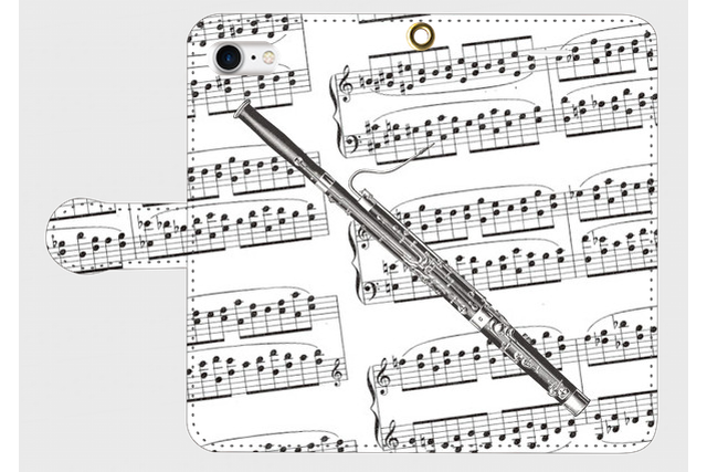 (iPhone用)ファゴットの手帳型スマホケース(楽譜)