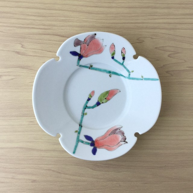 【ラストワン・有田焼】木蓮 木瓜型皿(P)