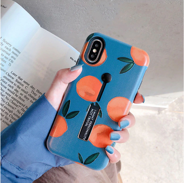 【オーダー商品】収納式スタンド&リング付き オレンジ iphoneケース 可愛い 韓国 ハート 秋冬 韓国ファッション