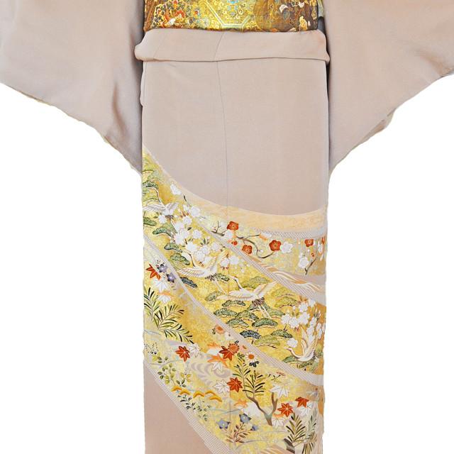 レンタル色留袖■高級加工■桃色地 流れる短冊に豪華な金彩鶴や松の柄irotome2【往復送料無料】 - メイン画像