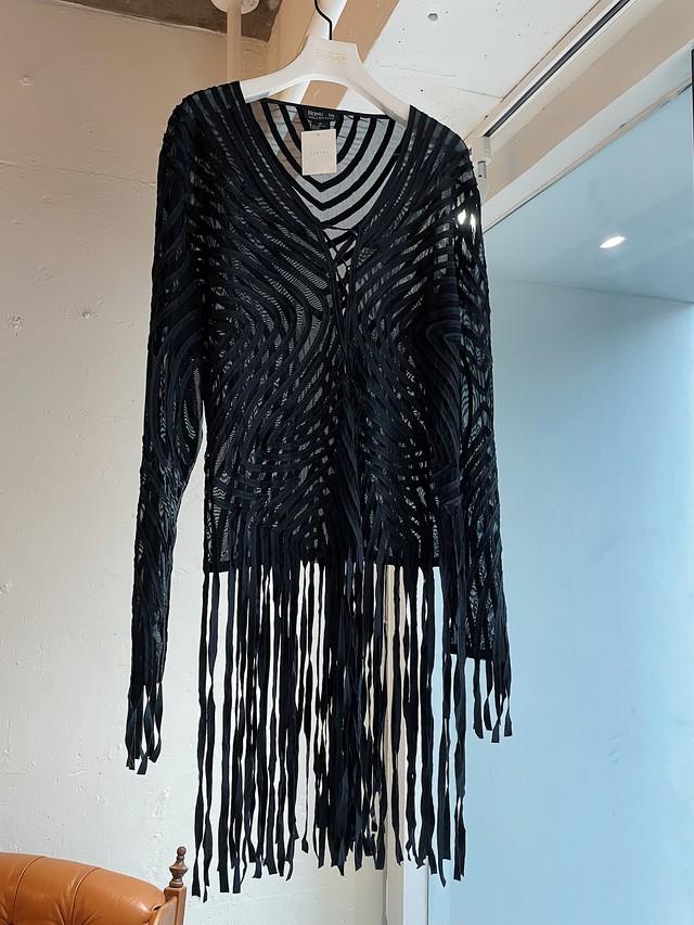 vintage silk fringe blouse