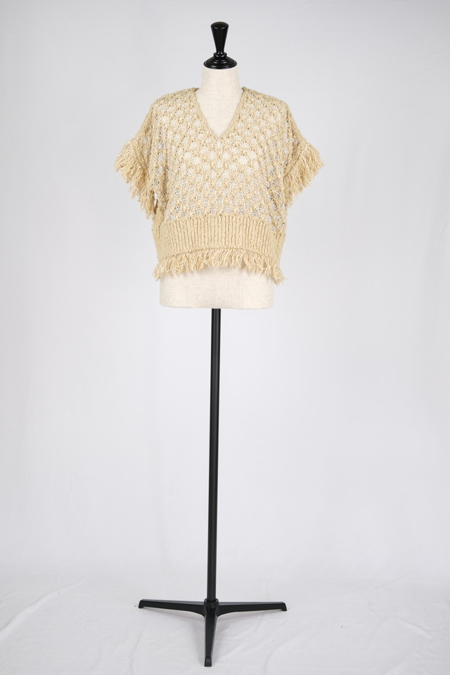 【EBONY】cotton fringe knit - beige