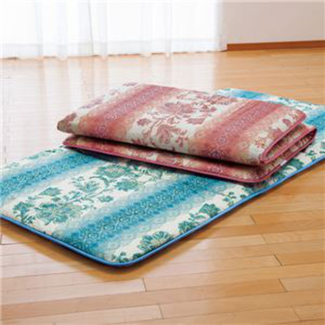 固わたマットレス/寝具 【ブルー セミダブル】 床付き軽減 日本製 ポリエステル 綿混 〔ベッドルーム 寝室〕