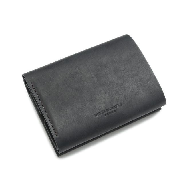 [予約]2.5折コンパクト財布 - MINI 2 イタリアンスクラッチ ダスティブラック