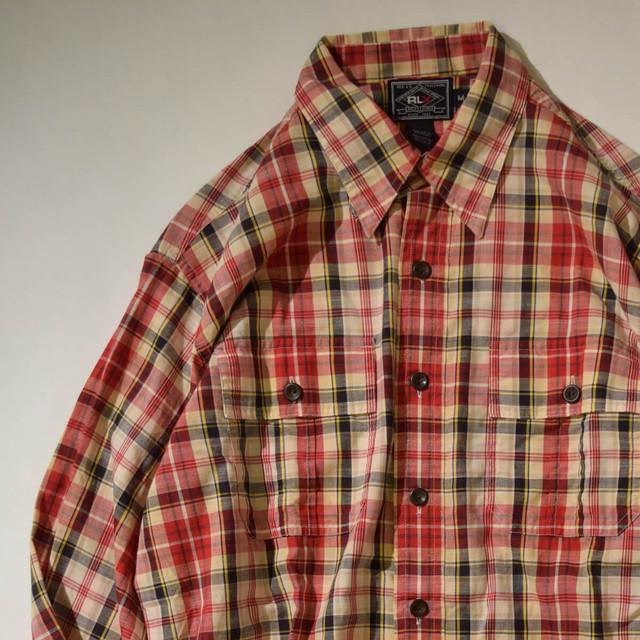 【Mサイズ】 RLX アールエルエックス CHECK SHIRTS 長袖シャツ RED M 400602190852