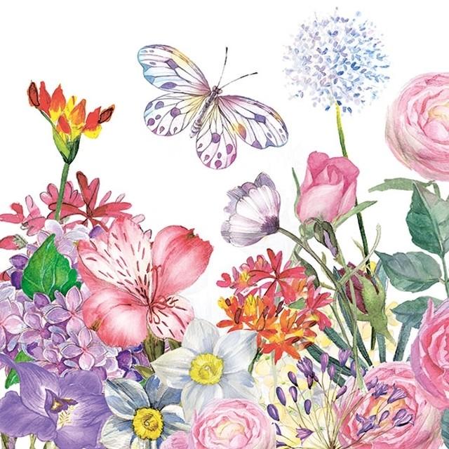 予約商品【Ambiente】バラ売り2枚 ランチサイズ ペーパーナプキン Flowergarden ホワイト