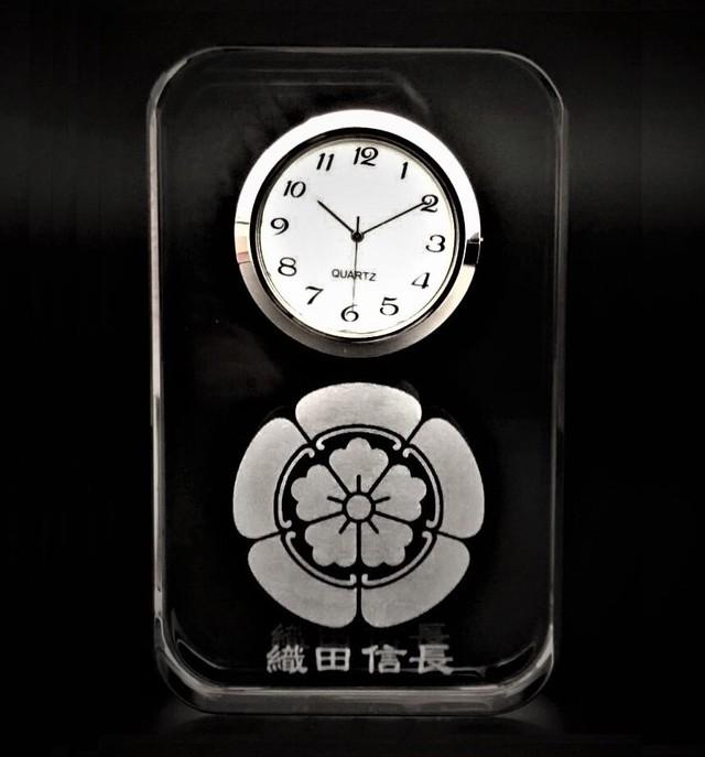 【限定】織田信長 家紋 匠のレーザー硝子時計