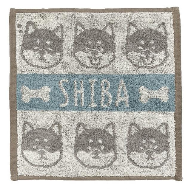 【柴犬】ジャガードハンカチタオル(ブルー)【猫雑貨】