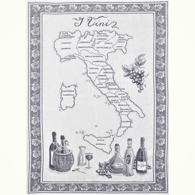 ジャガードコットン キッチンクロス・ワイン地図 ブラック