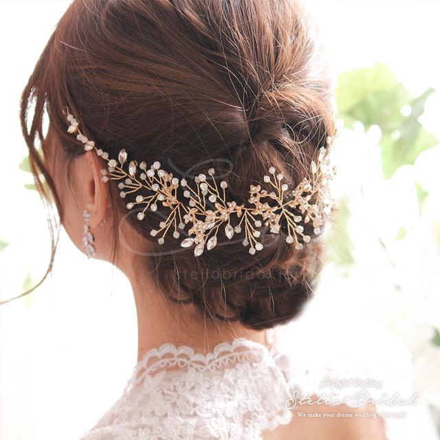 スワロ使用 ホワイトオパールとクリスタルリーフの小枝ヘッドドレス ヴェラ |ウェディングヘアアクセサリー