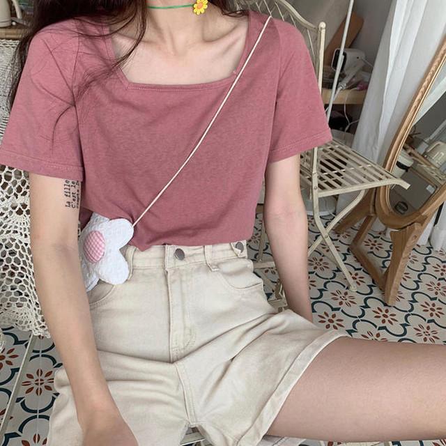 【送料無料】7Colorトップ♡トップス くすみ色 カットソー シンプル 着まわし カジュアル 半袖  スクエアネック