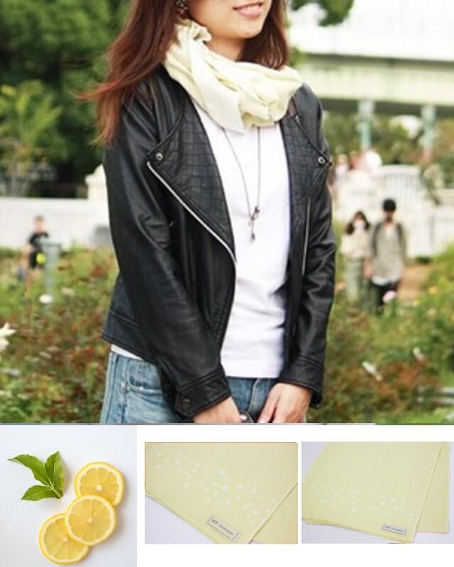 温感手ぬぐいスカーフ【Arareイエロー】100%国産天然綿 和晒生地使用