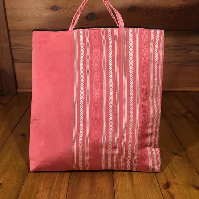 帯の2way手さげバッグ L『博多帯・うすすおう』