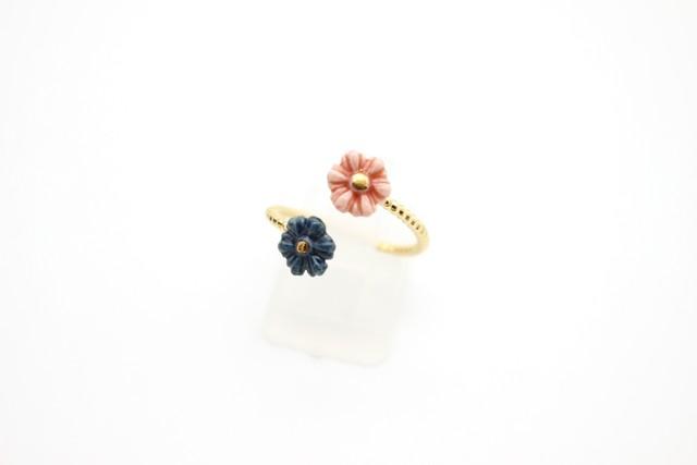 有田焼フォークリング 花×花 1