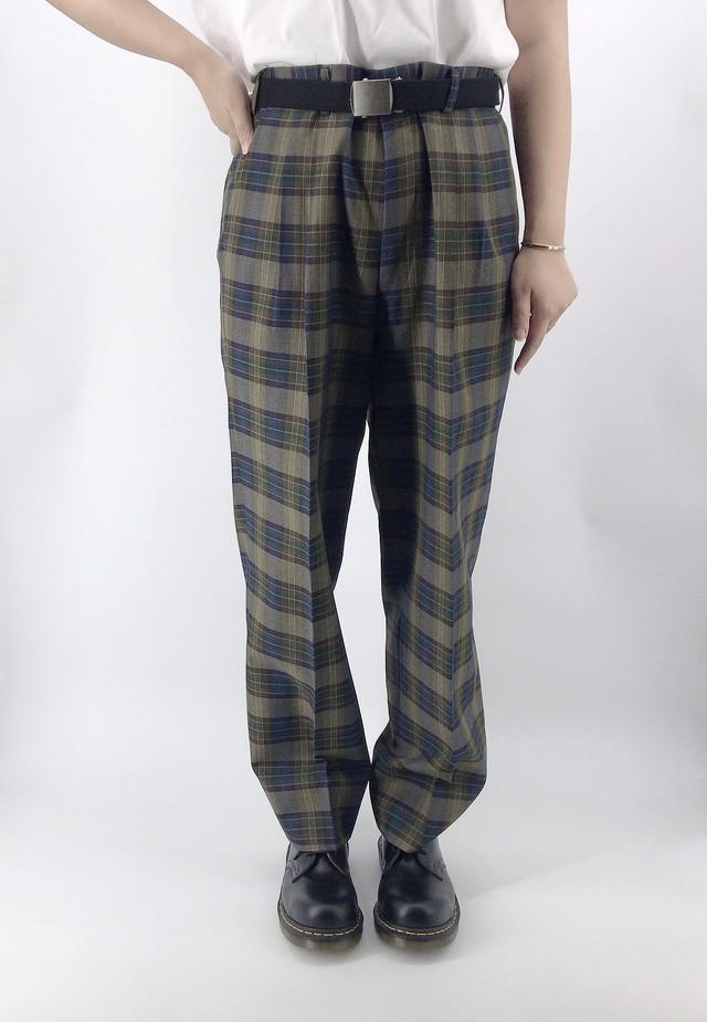 [used] dark tone checked pants