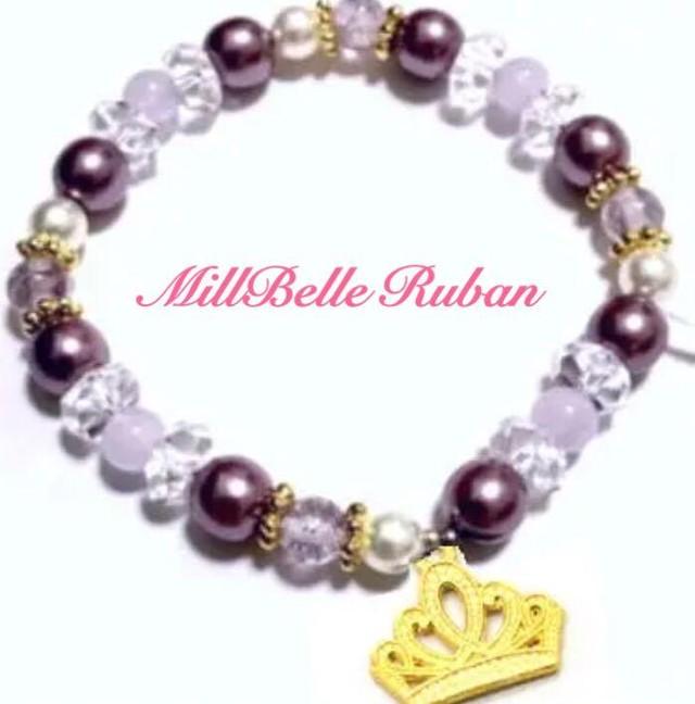 みるべるオリジナル❤︎天然石ブレスレット❤︎紫