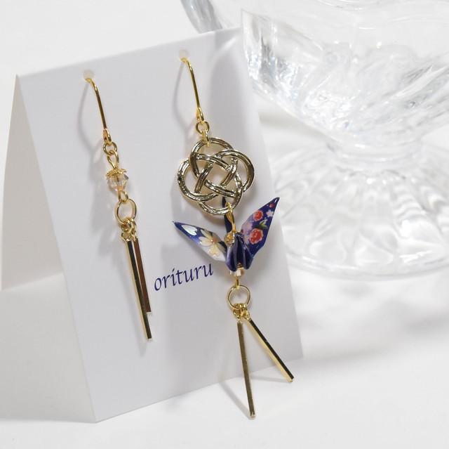 桜螺鈿折り鶴ホワイトxレッドスワロフスキー