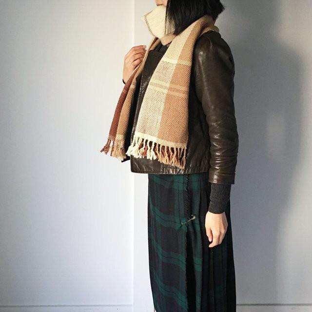 """【ウール:秋冬】ユニセックス:3 way 手織りマフラー """"Beige Mix"""""""