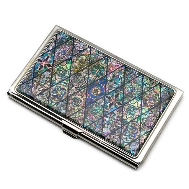 天然貝 名刺カードケース(ブルーモロッコタイル)シェル・螺鈿アート