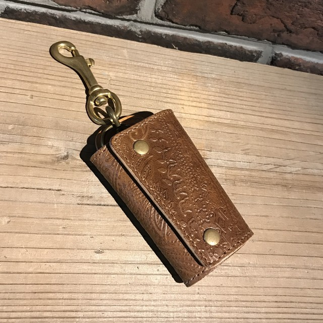 YONZY LOGO Button TAN leather Key holder Brass(コバチョコ)