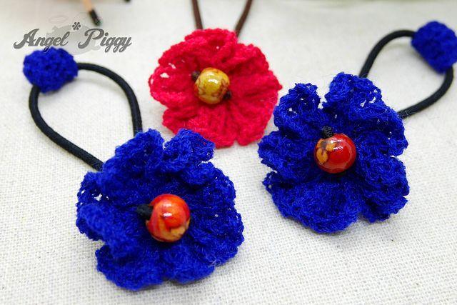 手編み ちっちゃなお花のヘアゴム