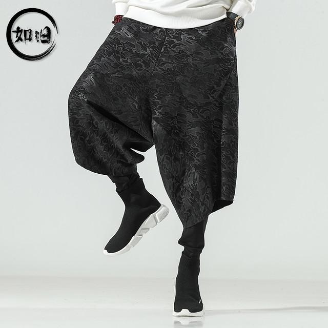 【如旧シリーズ】★チャイナ風ズボン★メンズ 2color 大きいサイズ ワイドパンツ ゆったり カジュアル 黒 グレー